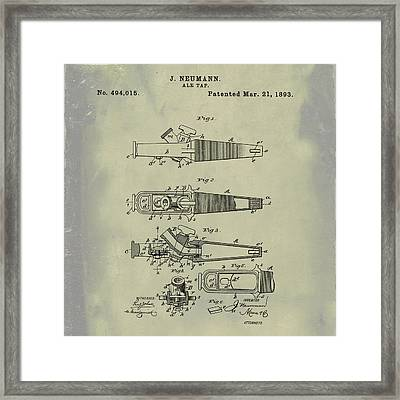 Ale Tap Patent 1893 In Weathered Framed Print