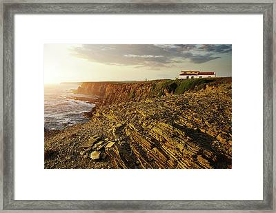 Framed Print featuring the photograph Alentejo Cliffs by Carlos Caetano
