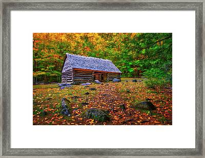 Alex Cole Cabin At Jim Bales Place, Roaring Fork Motor Trail In The Smoky Mountains Tennessee Framed Print