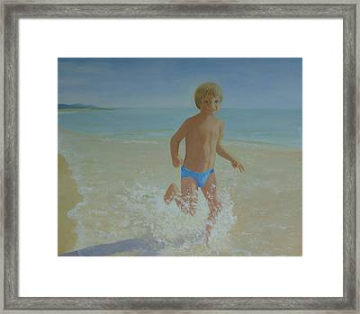 Alex On The Beach Framed Print