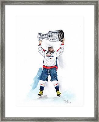Alex Oveckhkin Stanley Cup Win Framed Print by Caroline Serafinas