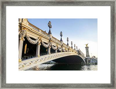 Alexandre IIi Bridge In Paris France Early Morning Framed Print