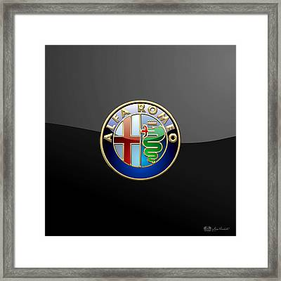 Alfa Romeo - 3 D Badge On Black Framed Print by Serge Averbukh