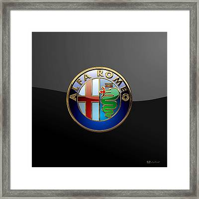 Alfa Romeo  - 3d Badge On Black Framed Print by Serge Averbukh