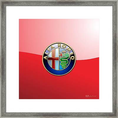Alfa Romeo - 3d Badge On Red Framed Print by Serge Averbukh