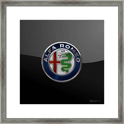 Alfa Romeo New 2015 3 D Badge Special Edition On Black Framed Print