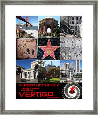 Alfred Hitchcock Jimmy Stewart Kim Novak Vertigo San Francisco 20150608 Text Black Framed Print