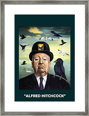 Alfred Hitchcock With Lettering Framed Print by Leah Saulnier The Painting Maniac
