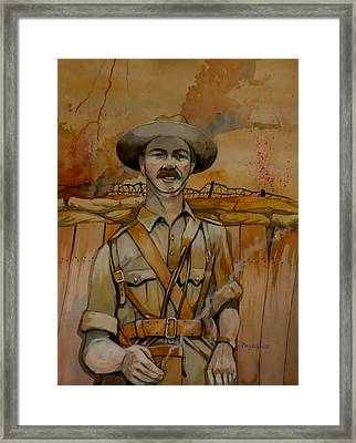 Framed Print featuring the painting Alfred Shout Vc by Ray Agius