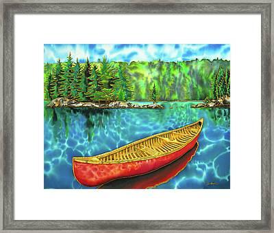 Algonquin Park Canada - Red Canoe Framed Print by Daniel Jean-Baptiste