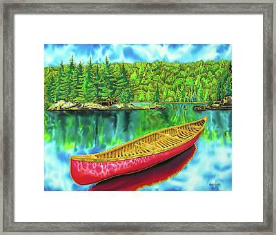 Algonquin Park - Red Canoe Framed Print by Daniel Jean-Baptiste