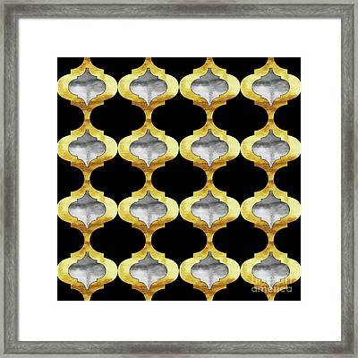 Alhambra, Glam Arbesque Quatrefoil Gold And Silver Pattern Framed Print by Tina Lavoie