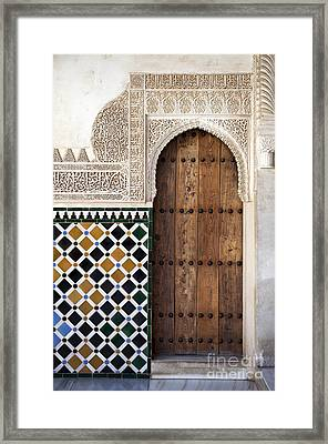 Alhambra Door Detail Framed Print by Jane Rix