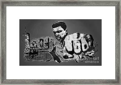 Ali The Greatest - Tribute B/w Framed Print by Ian Gledhill