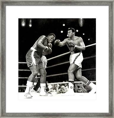 Framed Print featuring the drawing Ali Vs. Frazier 3 by Noe Peralez