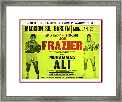 Ali Vs Frazier Boxing Poster Framed Print by Bill Cannon