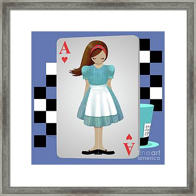 Alice 3d Flying Cards Framed Print by Audra Lemke