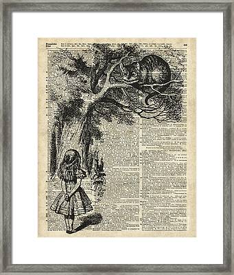 Alice And Cheshire Cat Framed Print