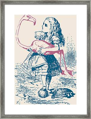 Alice And Flamingo Croquet Mallet Framed Print