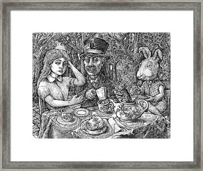 Alice And The Mad Hatter Framed Print by Steve Breslow