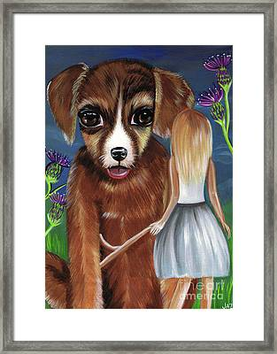 Alice And The Puppy Framed Print