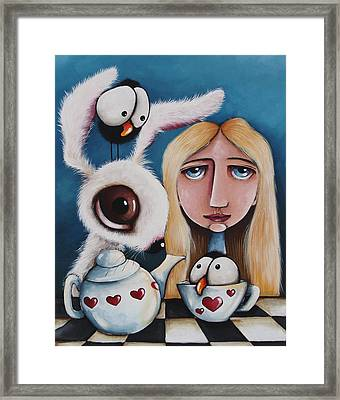 Alice And The White Rabbit Framed Print by Lucia Stewart