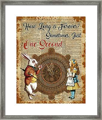 Alice And White Rabbit Vintage Dictionary Art Quote Framed Print by Jacob Kuch