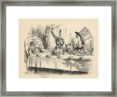 Alice At The Mad Hatter S Tea Party Framed Print
