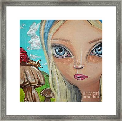Alice Finds A Snail Framed Print by Jaz Higgins
