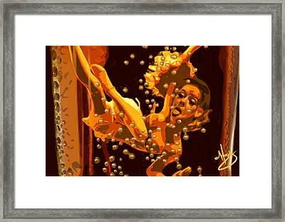 Alice In A Bottle Of Beer Framed Print by Moxxy Simmons