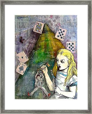 Alice In Bankland Framed Print by Christine Rossi