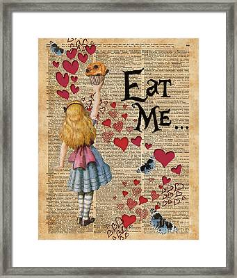 Alice In The Wonderland Eat Me Muffin  Framed Print by Jacob Kuch