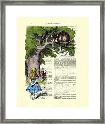 Alice In Wonderland And Cheshire Cat Framed Print by Madame Memento