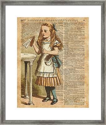 Alice In Wonderland Drink Me Vintage Dictionary Art Illustration Framed Print