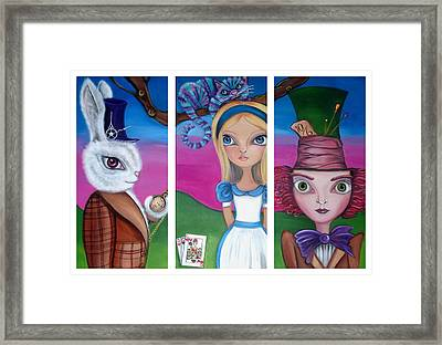Alice In Wonderland Inspired Triptych Framed Print