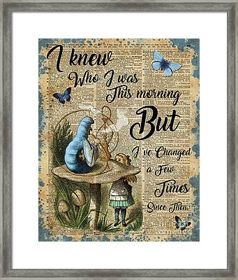 Alice In Wonderland Quote Vintage Dictionary Art Framed Print