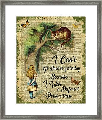 Alice In Wonderland Quote,cheshire Cat,vintage Dictionary Art Framed Print