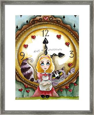 Alice In Wonderland Tick Tock Framed Print by Lucia Stewart