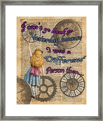Alice In Wonderland Travelling In Time Framed Print by Jacob Kuch