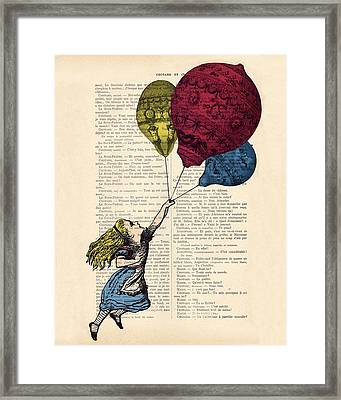 Alice In Wonderland With Big Colorful Balloons Framed Print