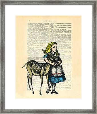 Alice In Wonderland With Fawn In Color Antique Illustration Framed Print