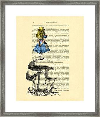 Alice In Wonderland Standing On Giant Mushroom Framed Print by Madame Memento