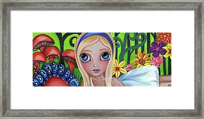 Alice Meets The Caterpillar Framed Print by Jaz Higgins