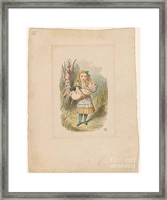 Alice With Baby Pig Framed Print