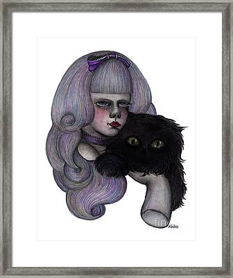 Alice With Black Cat Framed Print