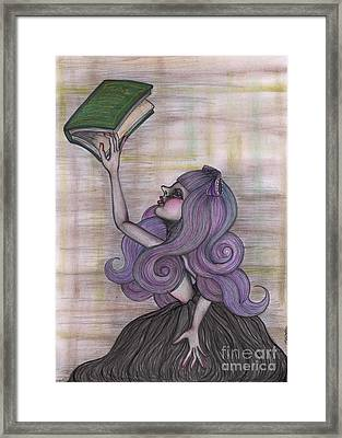 Alice With Old Book Framed Print