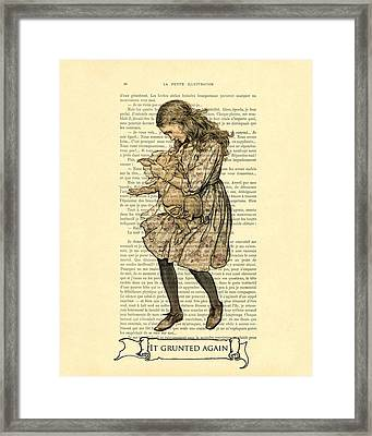 Alice In Wonderland With The Pig Framed Print