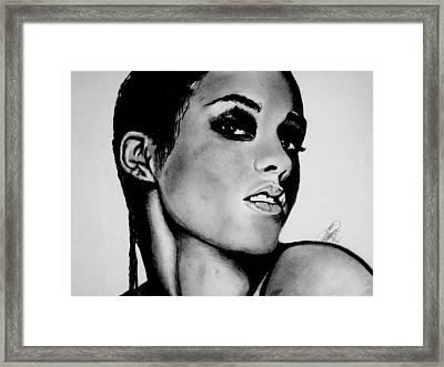 Alicia Keys Drawing Framed Print by Keeyonardo