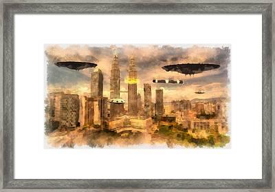 Alien Attack Framed Print by Esoterica Art Agency