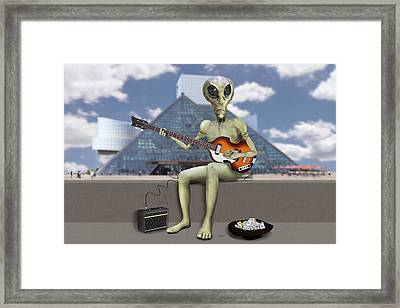 Alien Bass Guitarist  Framed Print
